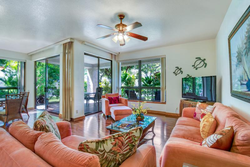 Spectacular ground floor condo on gated resort on golf course.