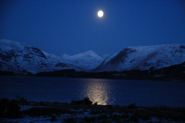 A full moon over Glen Scaddle - the view from the cottages