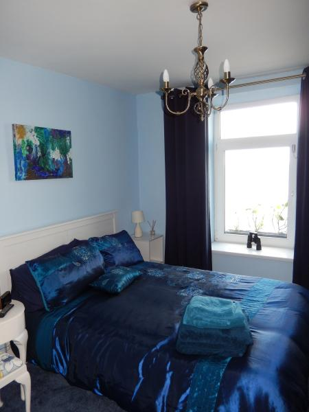 Bedroom with double bed and lovely views