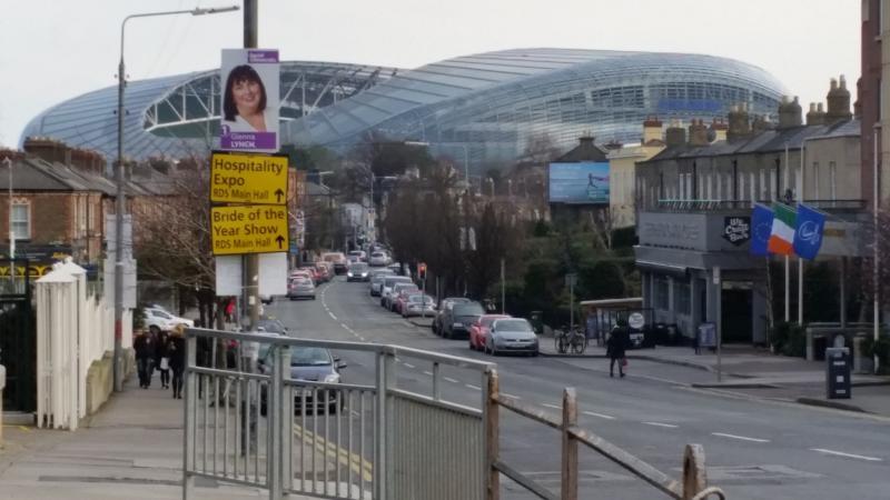 The Aviva Stadium (Lansdowne Road - home to the Irish rugby team) 1km away