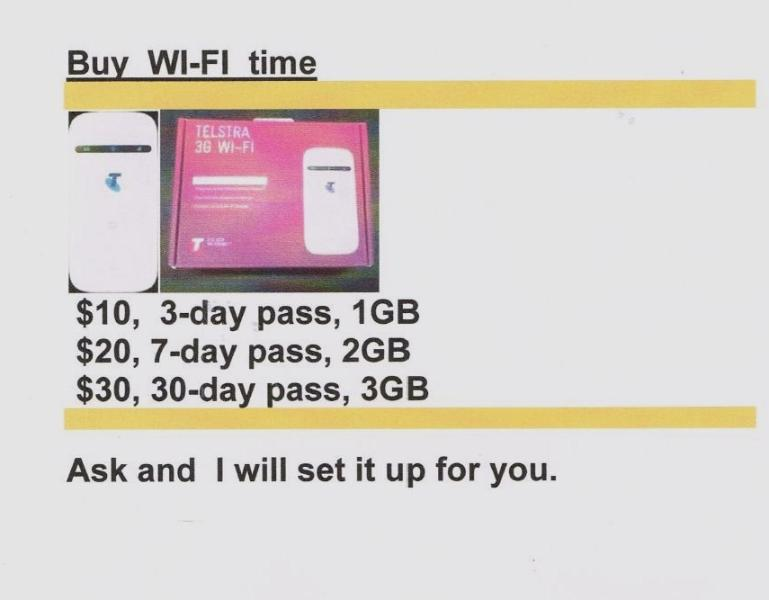 I don't have free wifi but you can buy a pass from me if you need extra data.