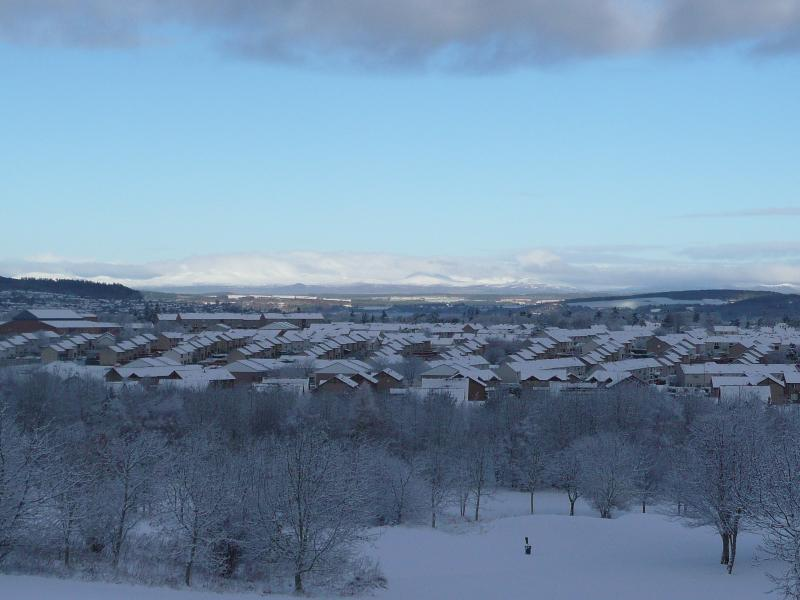 A Winter's day, with Ben Wyvis in the distance covered in snow.