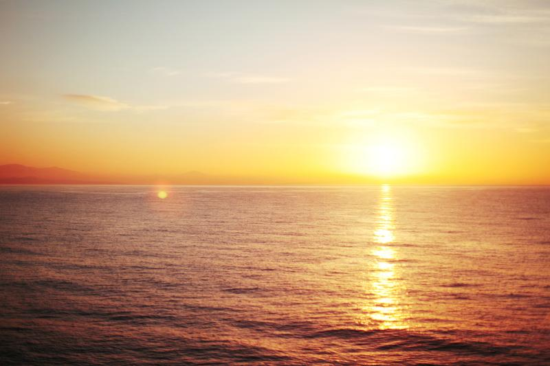Enjoy the magic sunset of Aegean sea