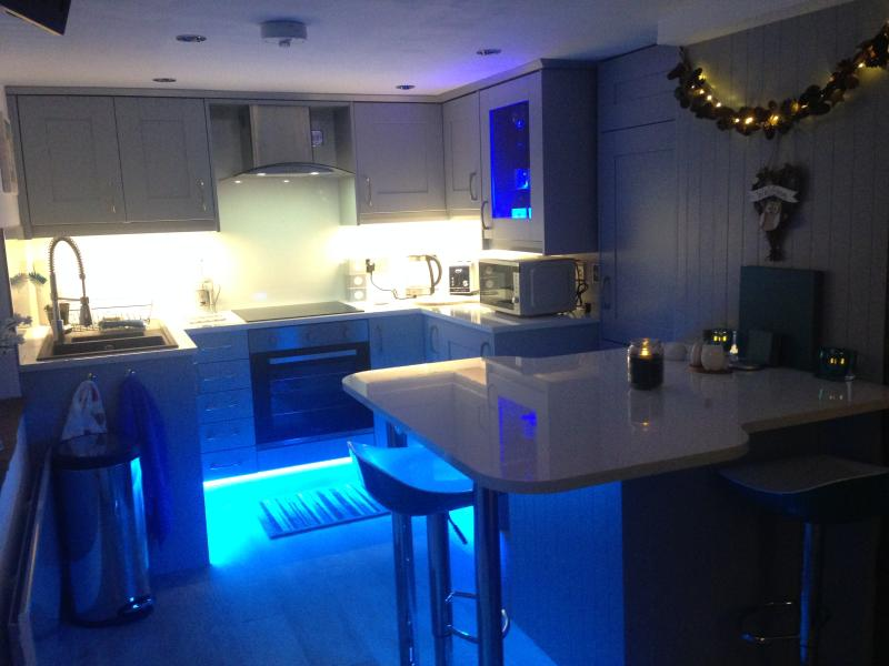 Kitchen at Night with choose your colour plinth lighting!