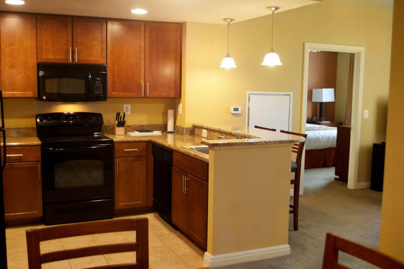 The kitchen has all the comforts of home for a casual dining experience