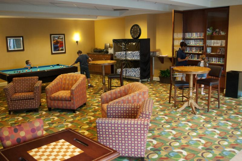 The game room and lounge area has activities for the kids