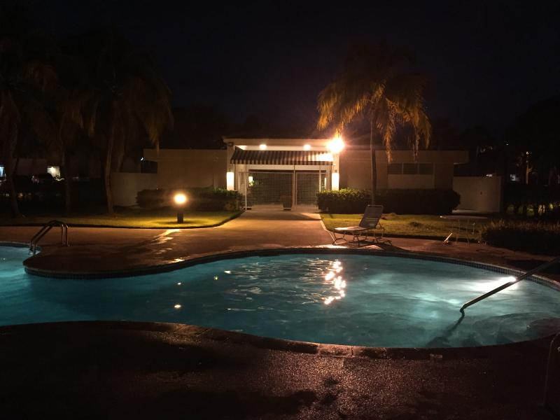 Night time at the pool.