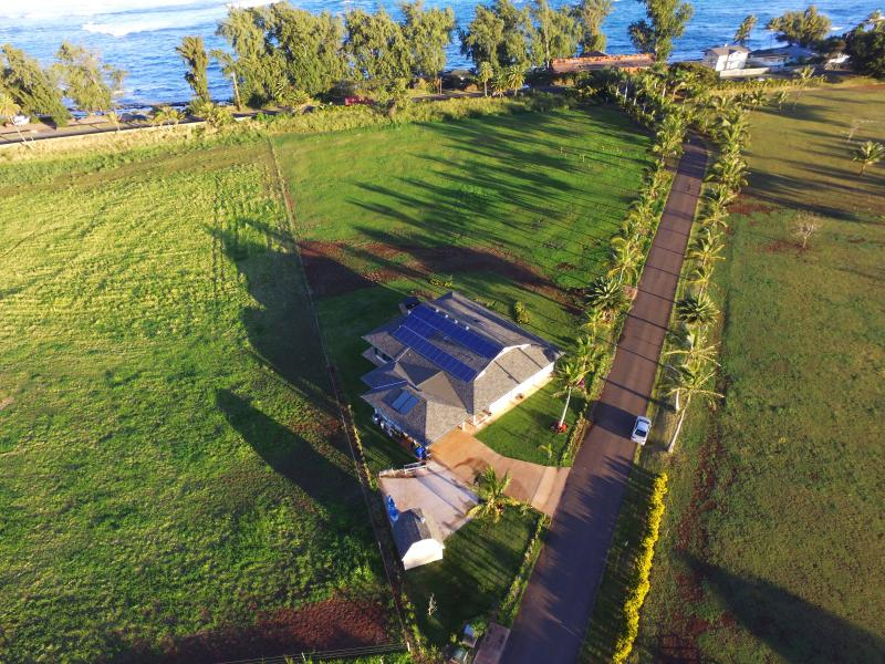 Another aerial of the Villa.  Lots of space and short walk to the beach right across the street!