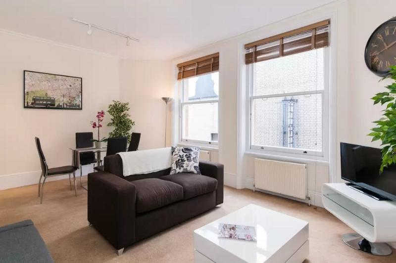 Very large, comfortable, modern lounge - with TV, large windows with light, and sofa-bed