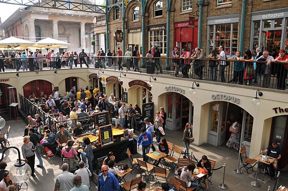Famous Covent Garden Piazza - just moments walk from the apartment. Many cafes, shops and performers