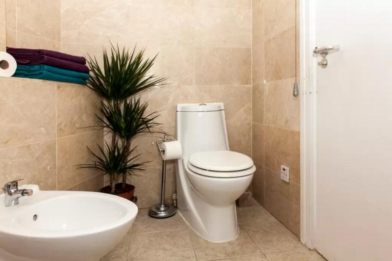 Large bathroom. Full bath shower attachment; lots of hot water and pressure. Towels, soaps included