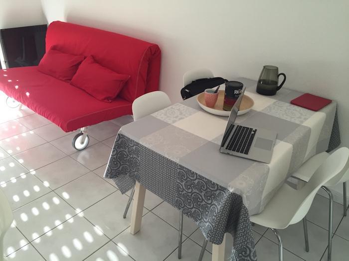 La table et le canapé-lit (160X200)