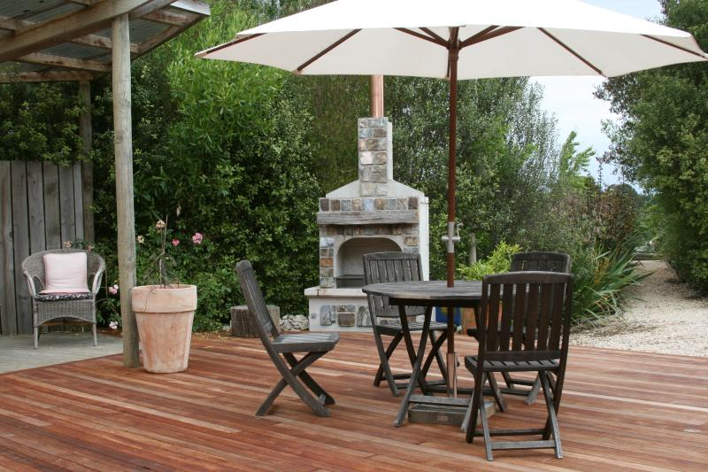 The Woolshed deck and outdoor fireplace available to Studio guests.