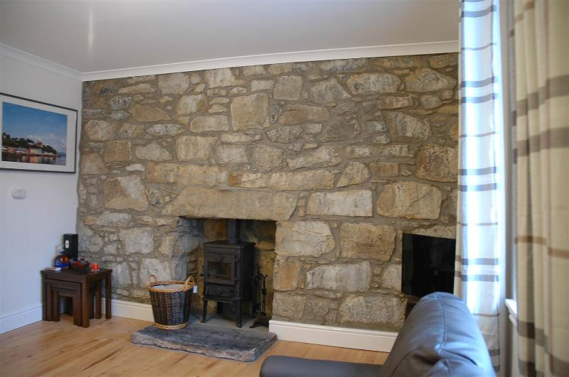 Feature stone wall and log burner in the lounge