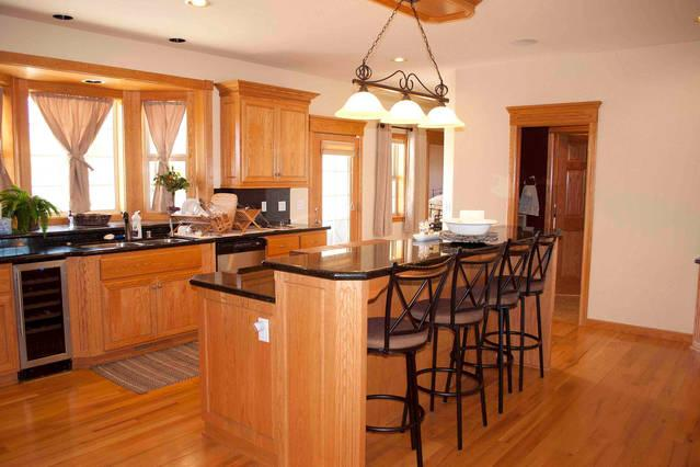 Large kitchen with large island extra bar seating and 2 sinks