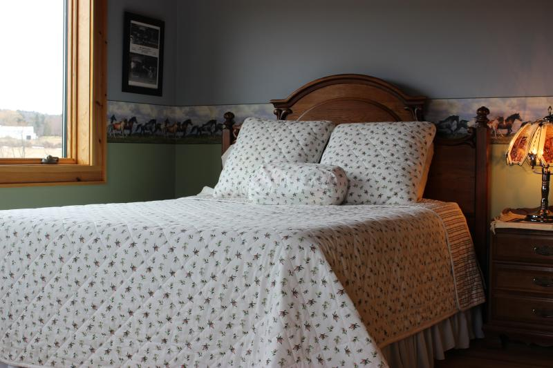 The Pasture Room has a horse theme and a comfy Queen bed.