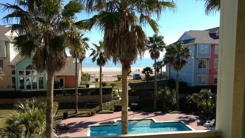 From your patio- The Gulf, waterfall pool, clubhouse and exercise room