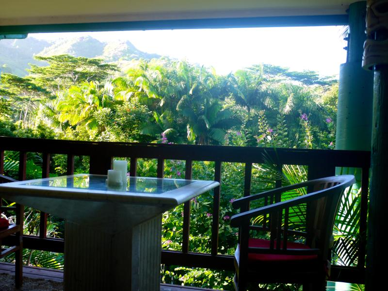 outdoor lanai overlooking valley and mountains