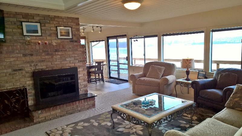 Family room with fireplace and HD TV