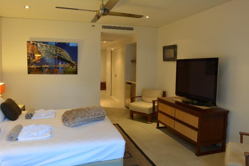 The master bedroom.  Behind Harbour Bridge is a luxury bathroom with huge spa bath & walk in shower