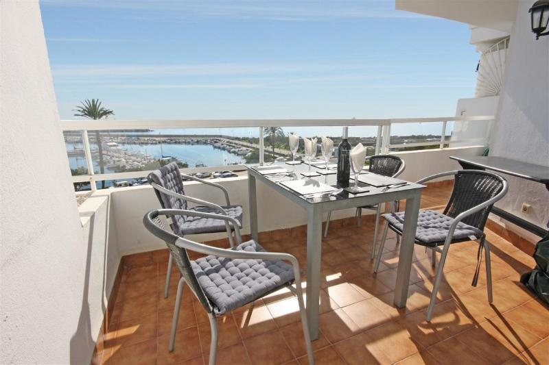 Outside dining terrace with great Mediteranean Sea views over the harbour front
