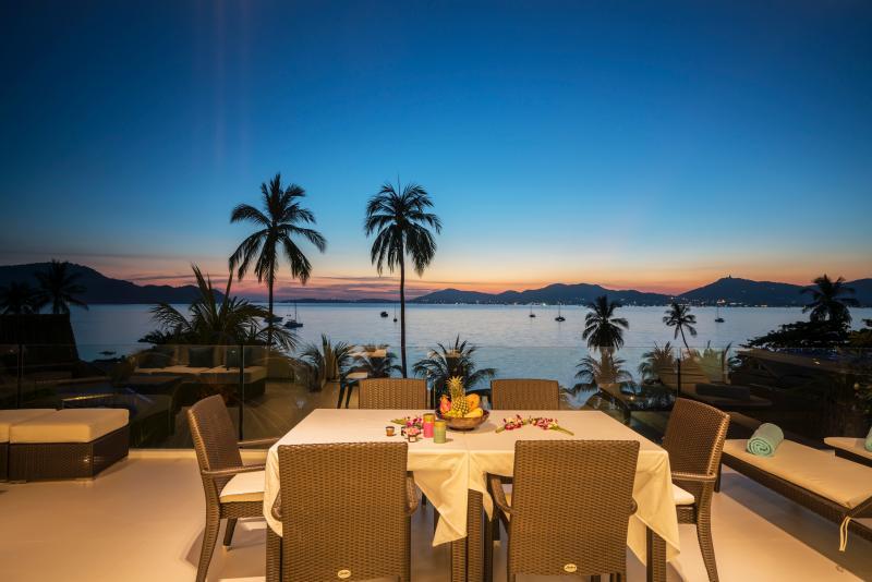 Villa Nirvana, main terrace, twilight