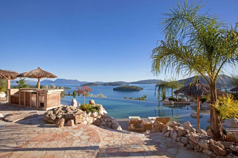 The Bali Estate Luxury Villa Rental in Lefkada, Greece; Luxury Infinity Pool with Beach Entrance