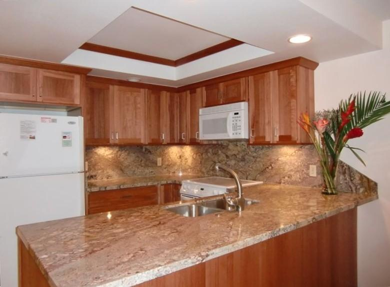 Well supplied kitchen. Beautiful granite and wood. Quiet dishwasher, a microwave, stove, and frig.