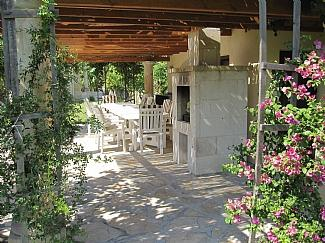 Shaded dining area outside