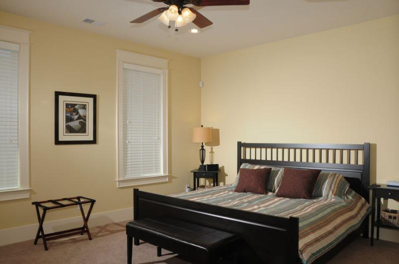 Master bedroom - King Bed with brand new mattress. Beautiful tile shower/bathroom