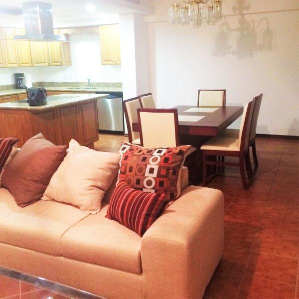 open floor plan, living room, dining room and kitchen