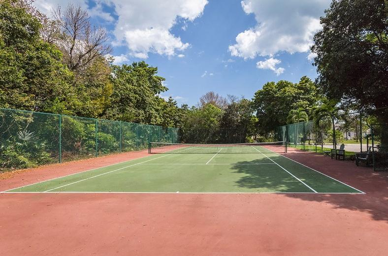 Tennis court and we supply rackets and tennis balls for your use