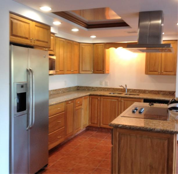 full kitchen, electric stove, convection and microwave ovens