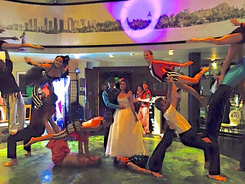 Circus performer's wedding reception