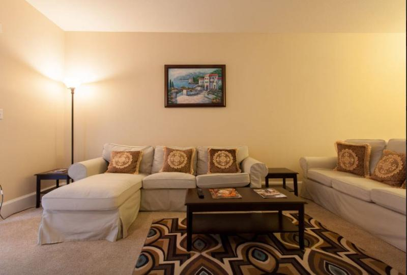 Family room or living room with large couch for 6 people