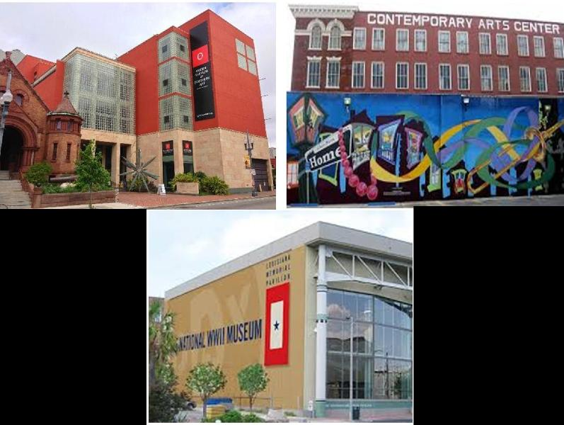 The museums (WWII, Ogden Southern and the Contemporary Arts Ctr) 6 blocks away