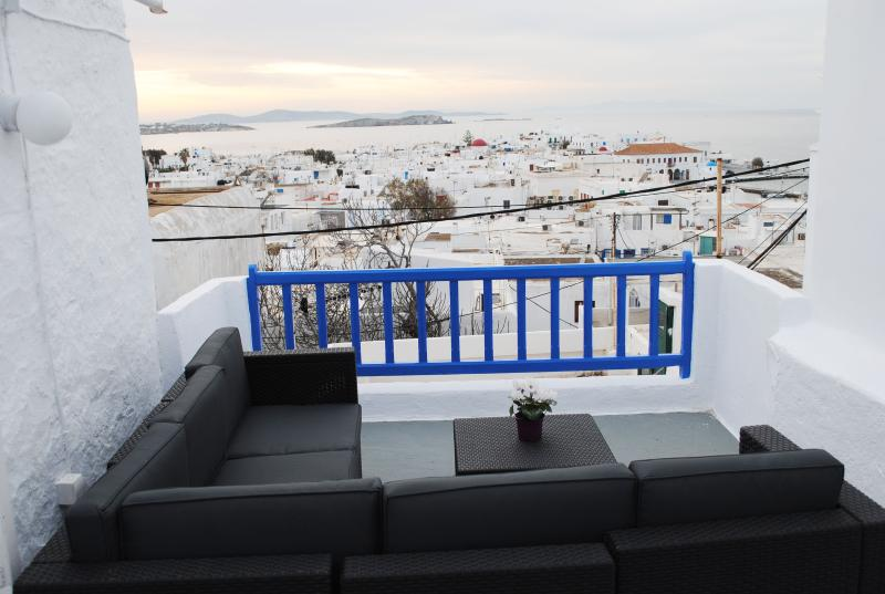The perfect spot to sea the sunset overlooking Mykonos town and the aegean sea