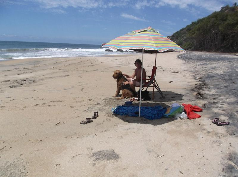 Enjoying the semi private beach/ umbrellas included.