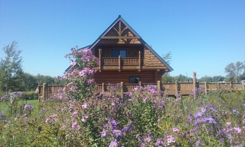 Beautiful log cabin surrounded by wildflowers and access to Shooting Star Bike Trail