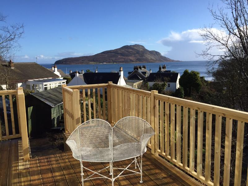 Views over Lamlash Bay towards Holy Isle from our decking