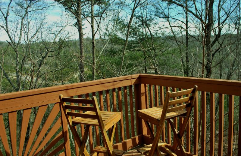Gaze out 40 foot decks over 10,000 acres of Unicoi forest and the Helen Valley!