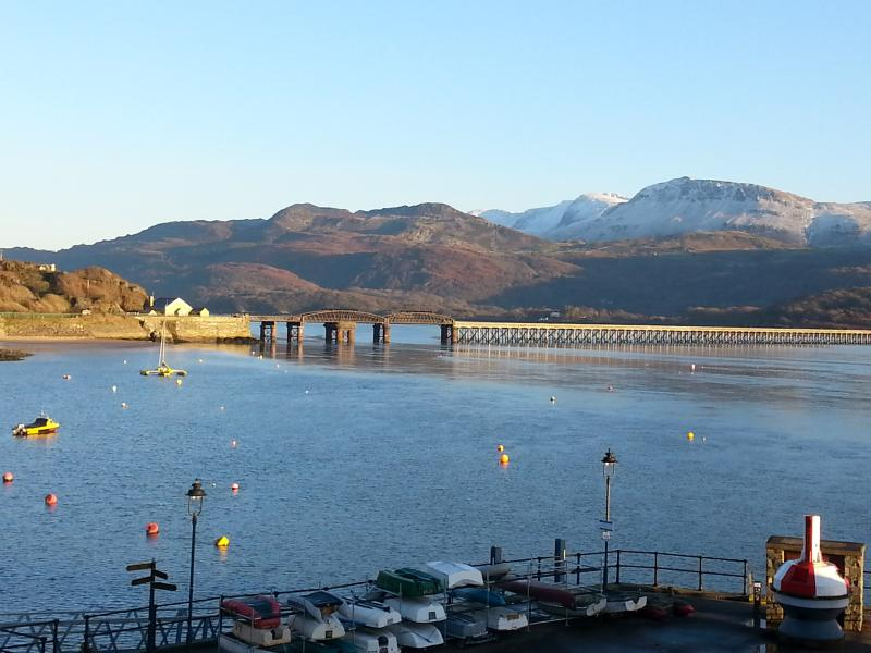 Stunning views from the living room window across to the famous Barmouth bridge.