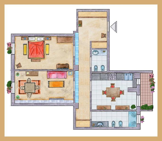 apartment 100 sqm - 2 bedrooms - 2 bathrooms - kitchen - balcony