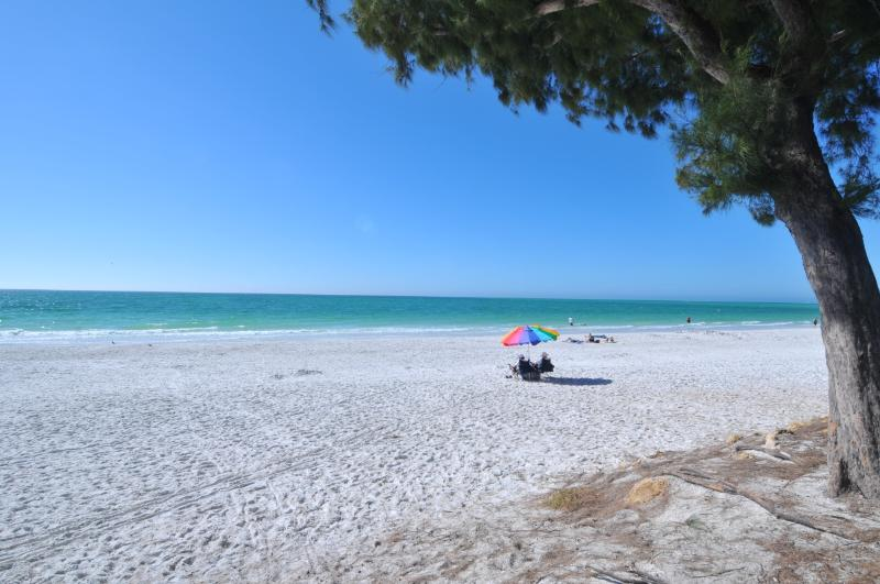 The Gulf-side beach is less than 10 minutes walk away; beach umbrella, chairs and wagon are provided