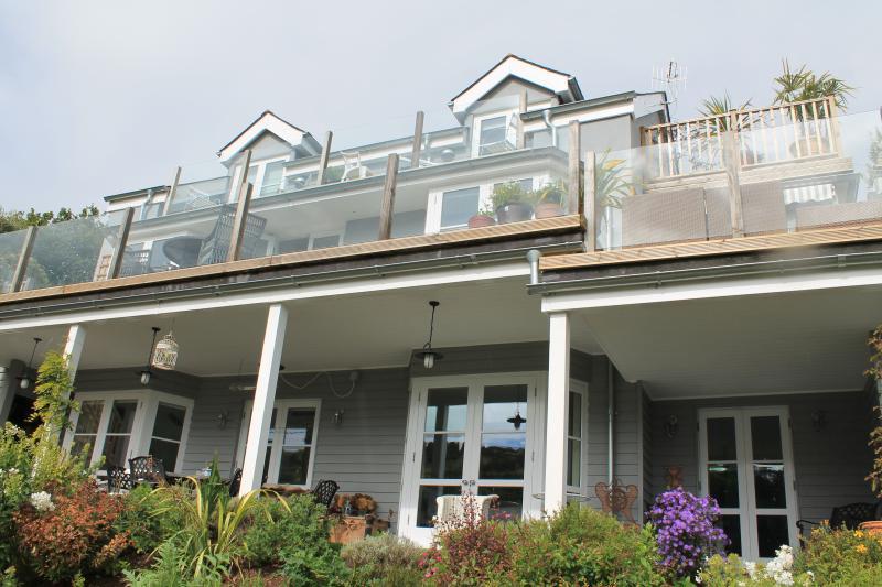 Top floor double and twin with private balcony.  Three bedrooms ground floor opening onto verandah