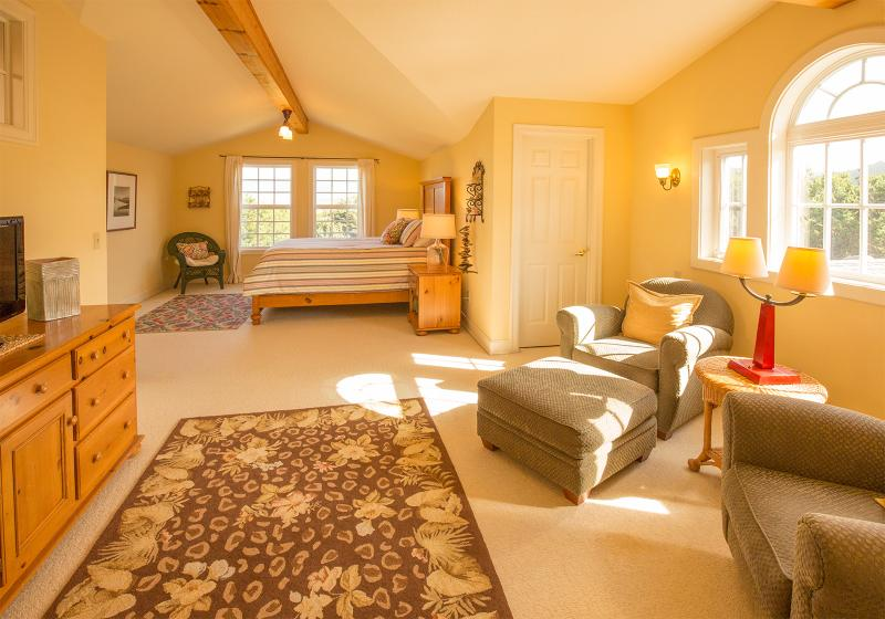 Wider shot of Master Bedroom Suite with sitting area. LCD TV & DVD to the left