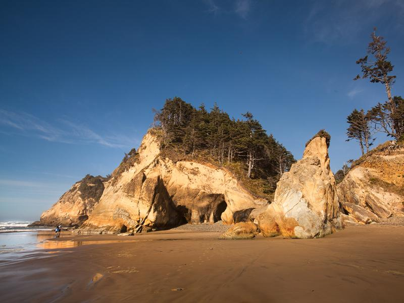 Hidden beaches and caves within a dramatic coastline are just a short drive away