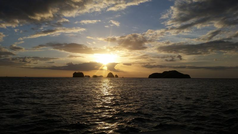 Sunset from aboard the Lazy Lizard Sunset and Snorkelling Catamaran Cruise.