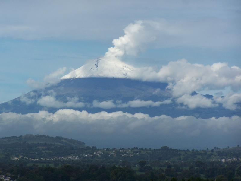 View of the volcano Popocatéptl from the balcony.