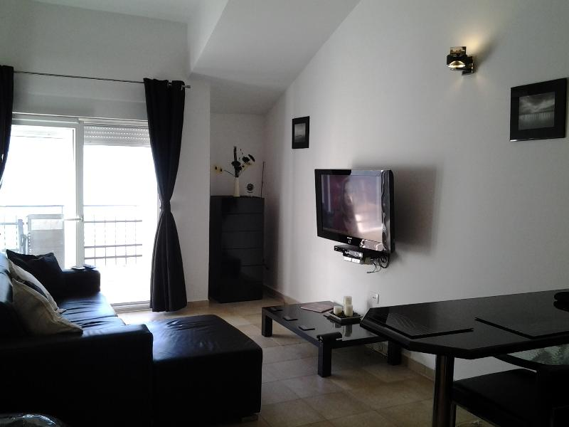 Lounge with large flat screen tv dvd player and cable tv